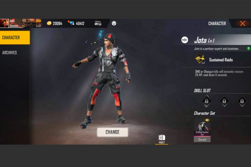 Karakter Jota populer di game Free Fire secara global