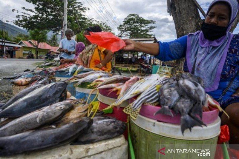 Pedagang ikan basah jualan di pinggir jalan
