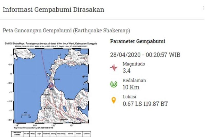 Gempa bumi 3,4 SR guncang Donggala pada Selasa dini hari