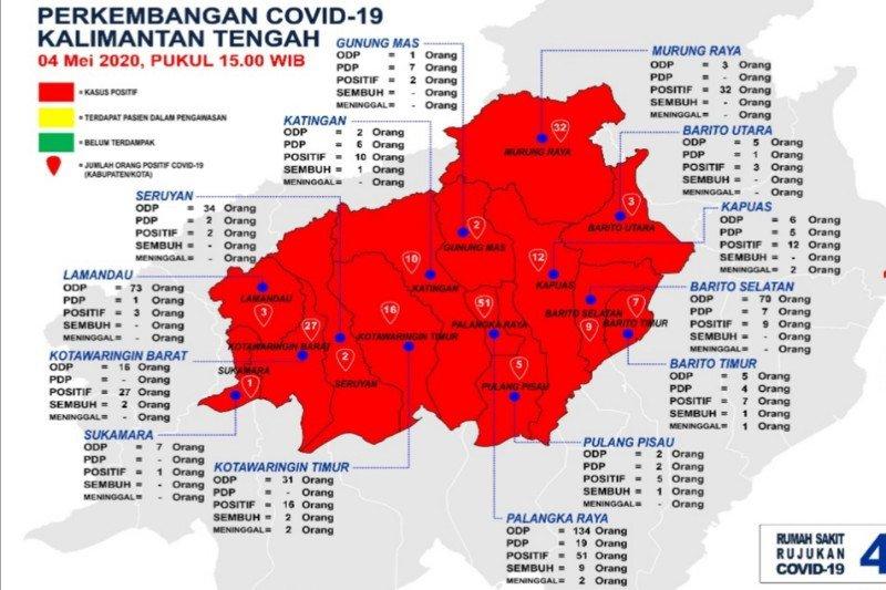 Kasus positif COVID-19 Kalteng melonjak, Sukamara akhirnya zona merah