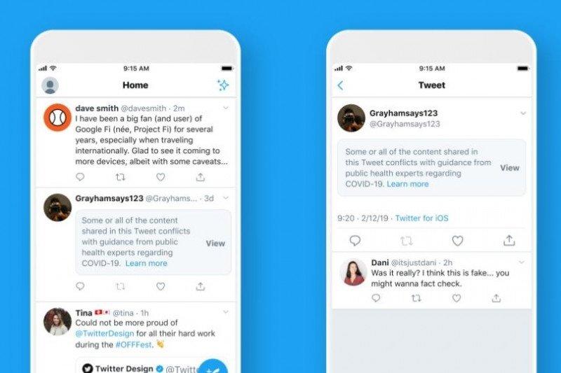 Twitter beri label untuk cuitan guna cegah misinformasi soal COVID-19