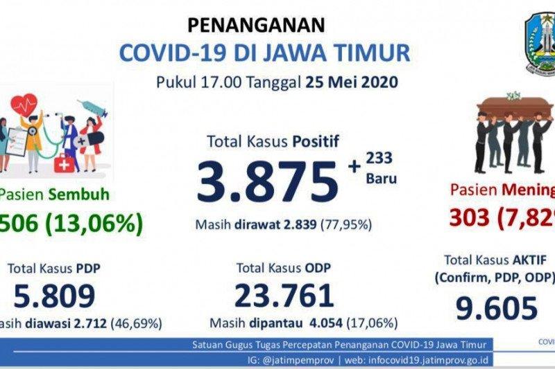 Pasien positif COVID-19 di Jatim capai 3.875 orang