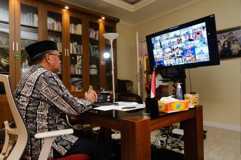 Gubernur Sulsel Nurdin Abdullah halal bihalal secara virtual