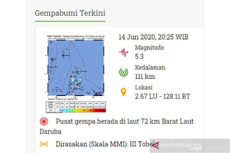 Gempa bumi tektonik magnitudo 5,3 di Maluku Utara tidak berpotensi tsunami