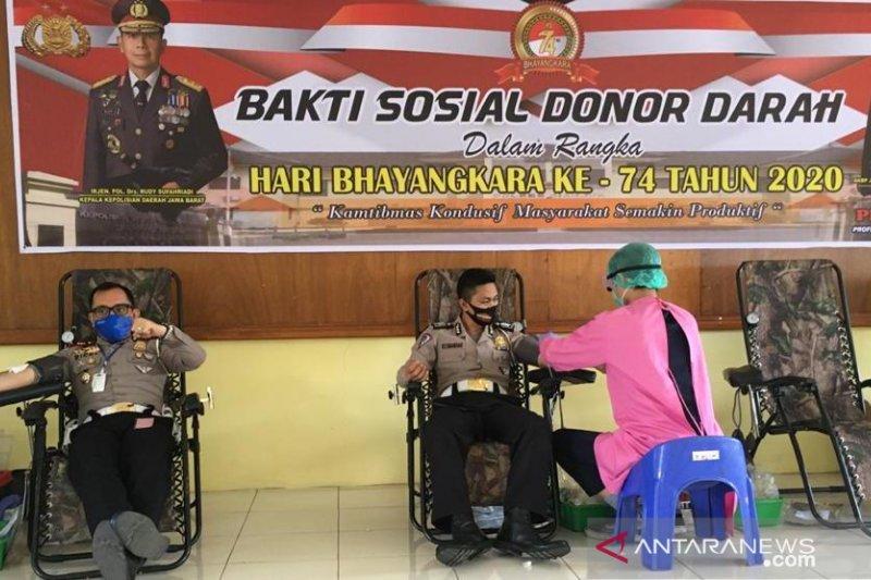 Polres Cianjur gelar donor darah massal bantu PMI Cianjur