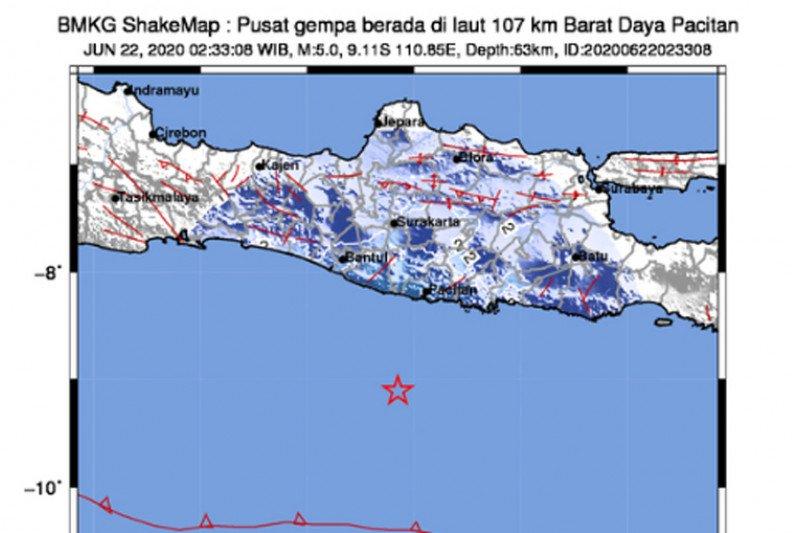 Pacitan dilanda gempa dengan magnitudo 5,0