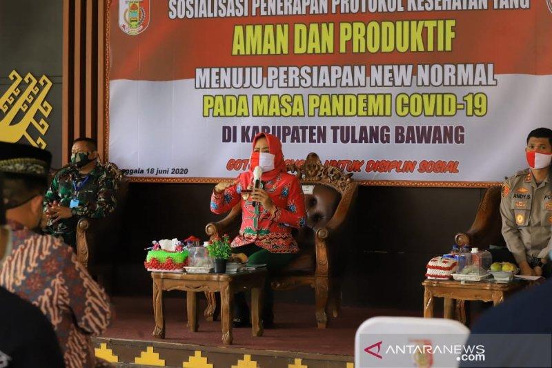 Bupati Winarti lakukan sosialisasi penerapan protokol kesehatan di Kabupaten Tulang Bawang