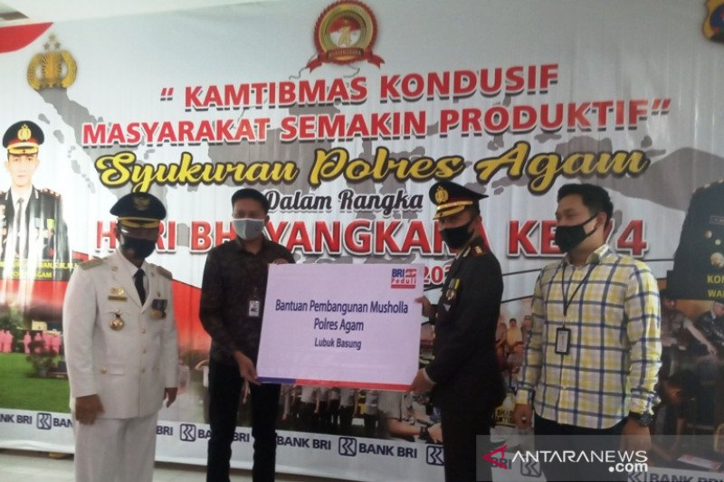 BRI Cabang Bukittinggi bantu bangun masjid milik Polres Agam