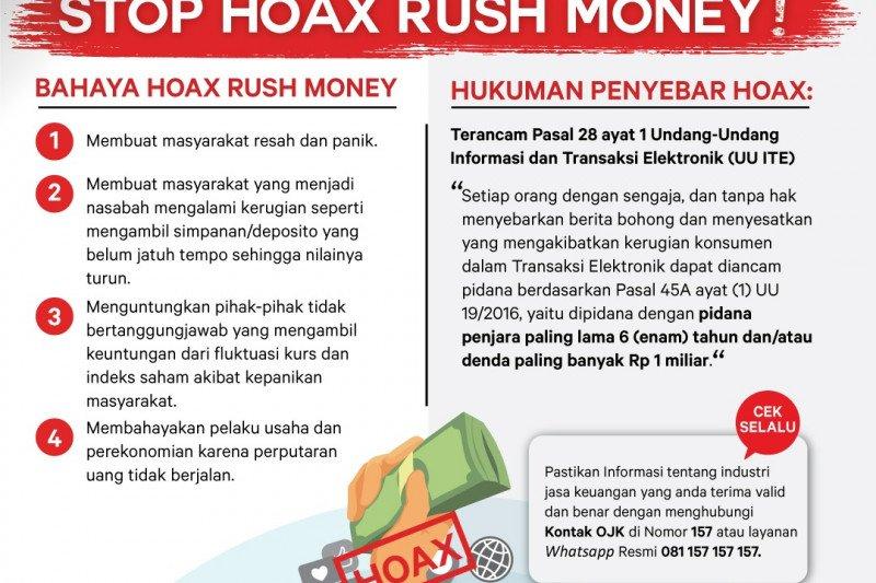 """Waspadai beredarnya informasi """"hoax ajakan penarikan dana di perbankan"""