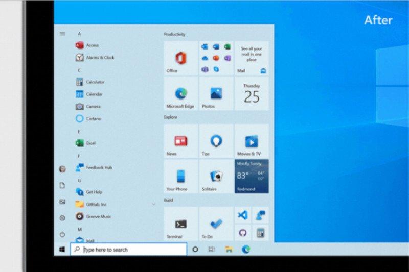Microsoft  kenalkan desain baru menu 'Start' pada Windows 10
