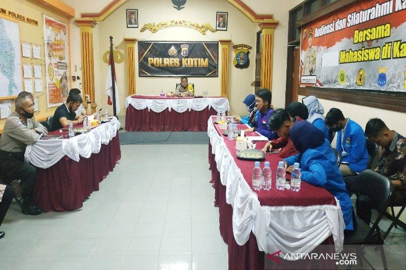 Mahasiswa diterima sampaikan aspirasi kepada Kapolres Kotim
