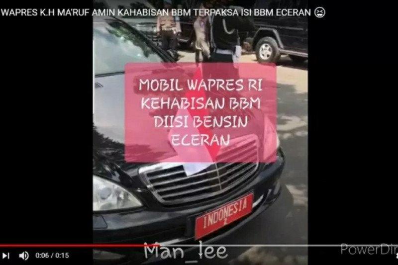 Benarkah mobil Wapres Ma'ruf Amin isi BBM eceran?