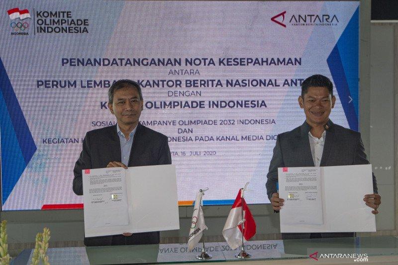 KOI dan ANTARA tanda tangani kerja sama dukung Indonesia tuan rumah Olimpiade 2032
