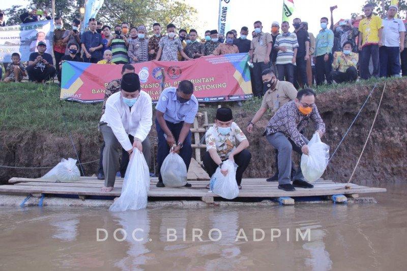 Gubernur tebar ribuan bibit ikan di Sungai Tiuh Waykanan
