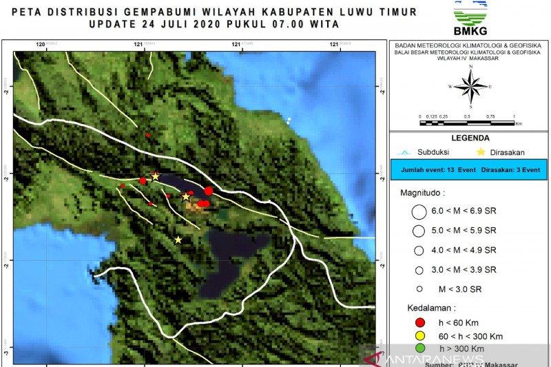 Masyarakat diimbau waspada karena meningkatnya aktivitas gempa di Sesar Matano