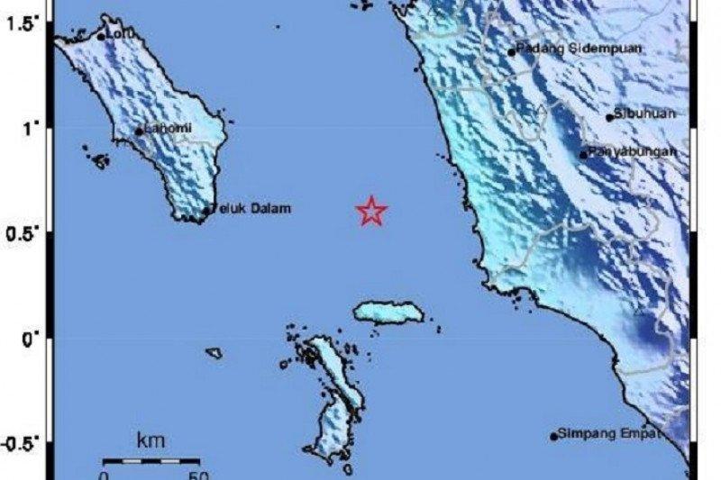 Gempa mangnitudo 4,9 landa Nias Selatan, kedalaman 51 km tidak bepotensi tsunami