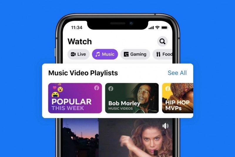 Facebook tambah fitur video musik saingi YouTube, tapi baru tersedia di Amerika Serikat