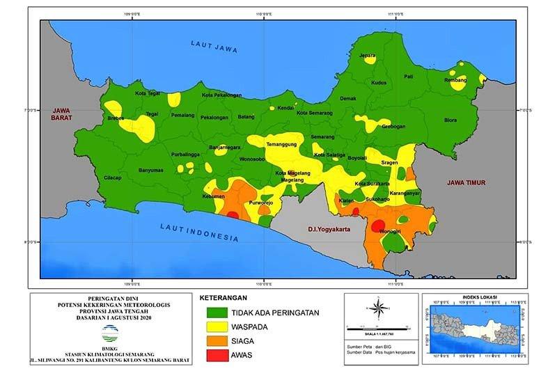 Sejumlah wilayah Jateng selatan berstatus waspada kekeringan