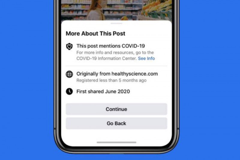 Facebook berikan peringatan sebelum membagikan artikel COVID-19