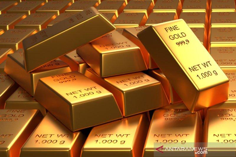 Emas turun namun raih keuntungan mingguan