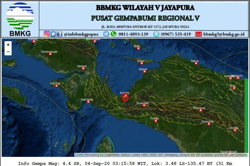 Gempa magnitudo 4.3 guncang Nabire