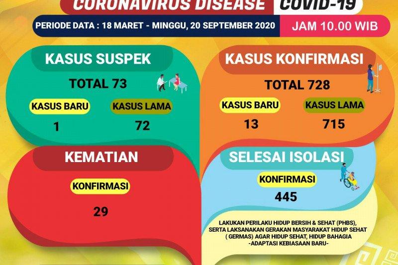 Kasus positif COVID-19 di Lampung bertambah 13, kini totalnya menjadi 728