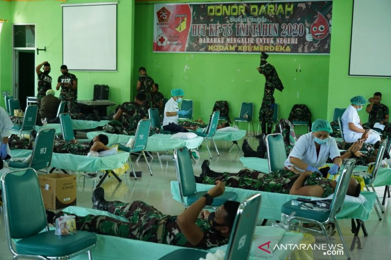 250 prajurit Kodam XIII/Merdeka ikut donor darah