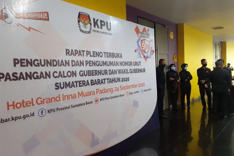 KPU Sumbar tetapkan nomor urut pasangan calon Gubernur dan Wakil Gubernur Sumbar