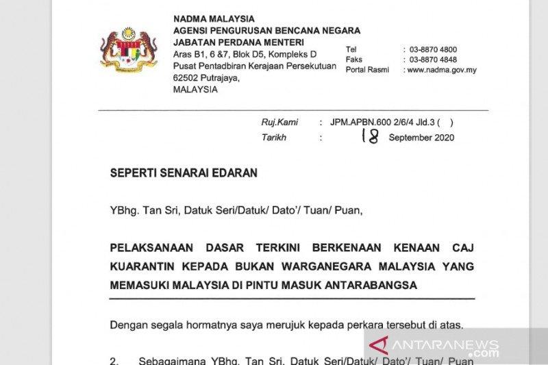 Malaysia terapkan biaya karantina bagi WNA Rp16 juta
