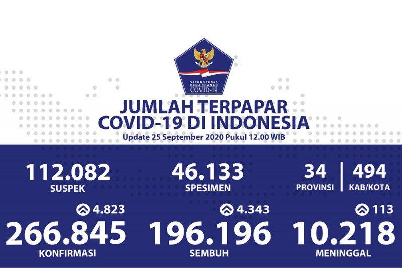 Positif COVID-19 di Indonesia bertambah 4.823 sedangkan sembuh 4.343 orang