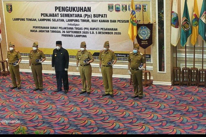 Gubernur Lampung lantik lima penjabat sementara bupati