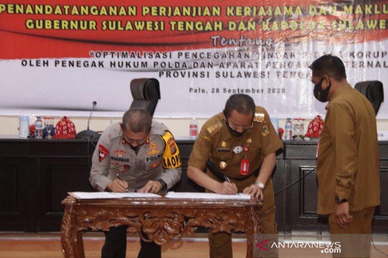 Gubernur dan Kapolda Sulteng teken kerja sama cegah korupsi