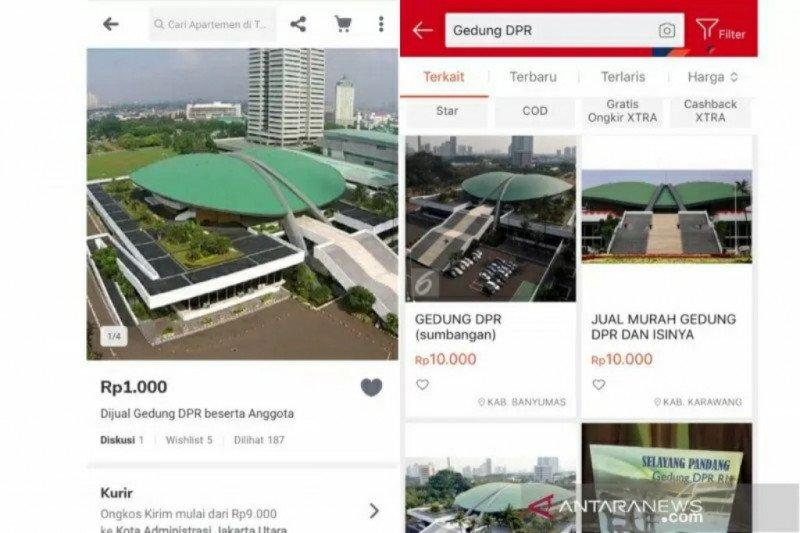 Selain lapak Tokopedia, Gedung DPR juga dijual di Shopee