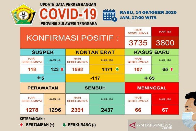 Pasien meninggal akibat COVID-19 di Sulawesi Tenggara menjadi 67 orang