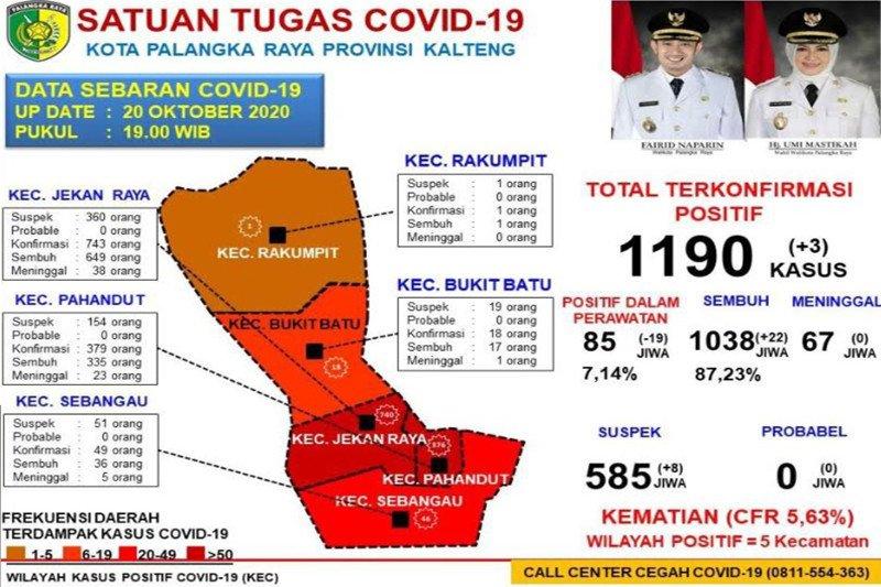 Kabar baik, pasien COVID-19 di Palangka Raya hanya tinggal 85 orang