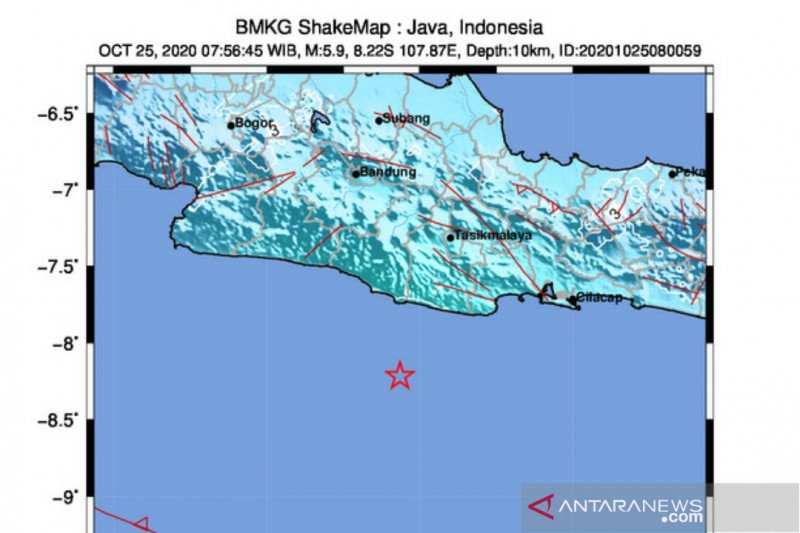 Gempa magnitudo 5,9 di barat daya Pangandaran tidak berpotensi tsunami