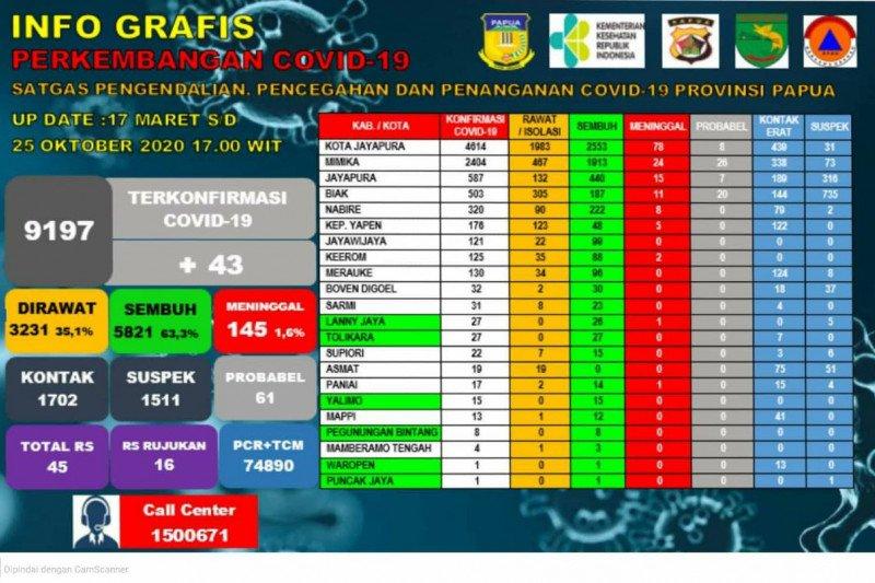 Satgas COVID-19: 253 warga di Papua sembuh dari virus corona