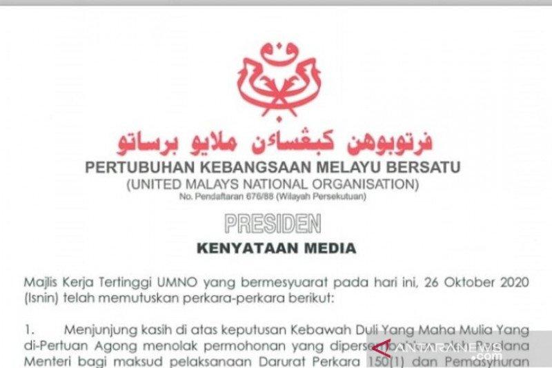 Majelis Tertinggi UMNO puji raja tolak usulan darurat PM Malaysia
