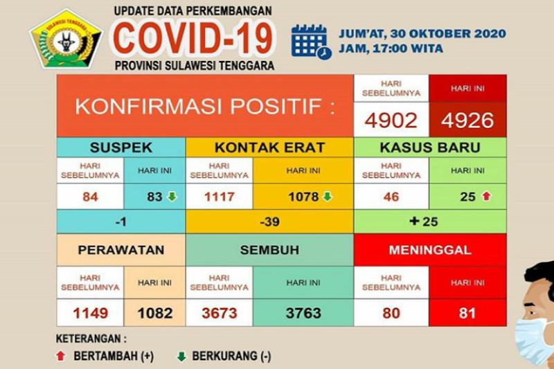 Pasien COVID-19 sembuh di Sulawesi Tenggara 3.763 orang