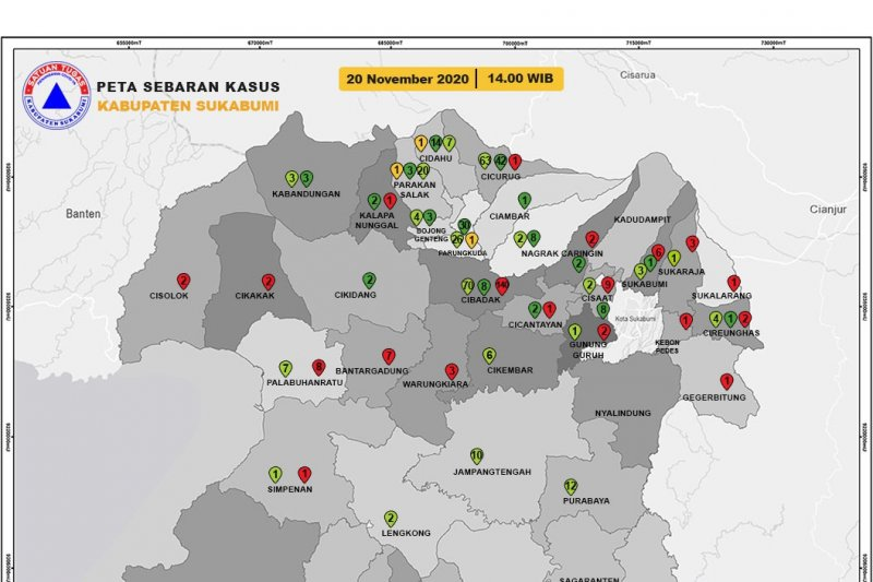 Jumlah pasien positif COVID-19 yang sembuh di Kabupaten Sukabumi melonjak