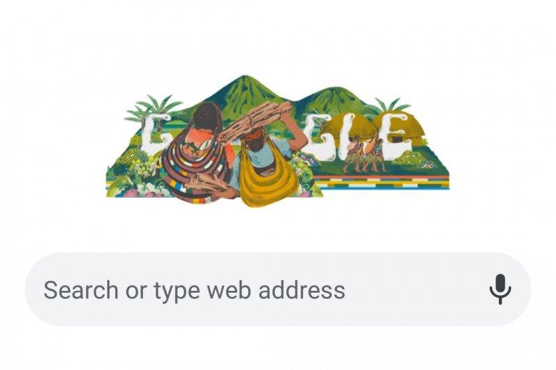 Tampilan Google Doodle untuk apresiasi Noken Papua