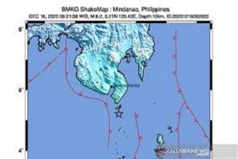 Gempa bermagnitudo 6,2 guncang Mindanao Filipina