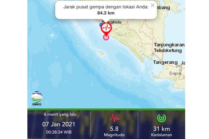 Gempa Bumi Magnito 5 8 Di Bengkulu Tidak Berpotensi Tsunami Antara News