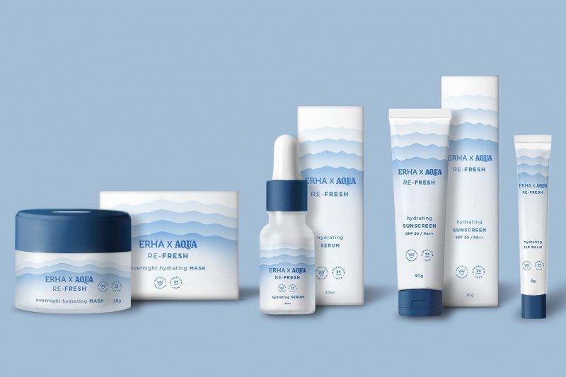 Produk skincare berkolaborasi dengan air mineral untuk hidrasi kulit