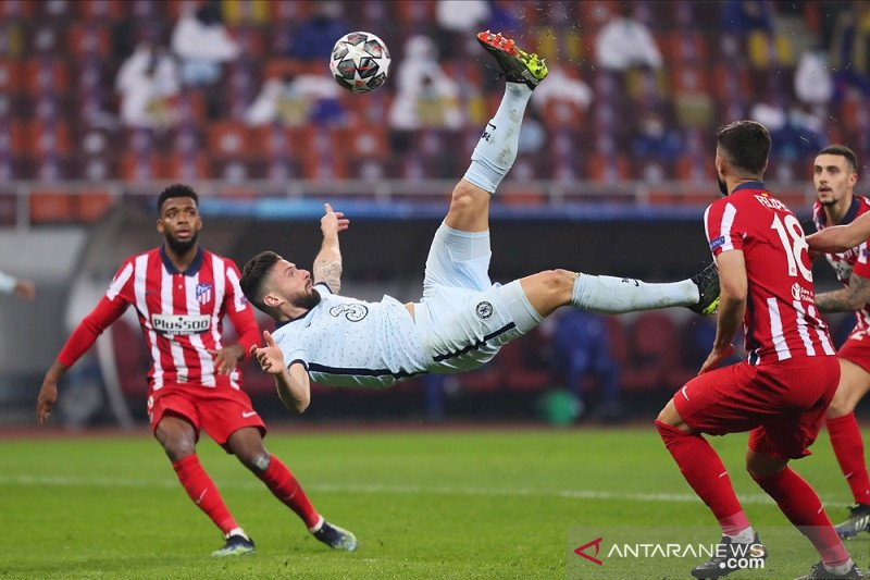 Gol akrobatik Giroud antar Chelsea juaraii leg pertama atas Atletico