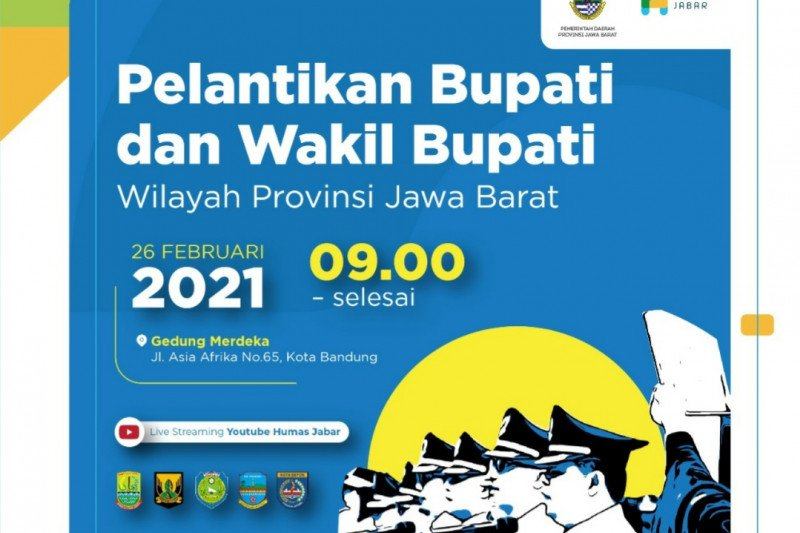 Lima pasangan kepala daerah terpilih di Jabar dilantik di Bandung Jumat
