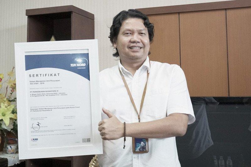 PTPN IX terima sertifikat sistem manajemen antipenyuapan