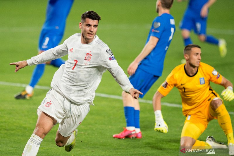 Yunani tahan imbang Spanyol 1-1 di Kualifikasi Piala Dunia 2022 Grup B