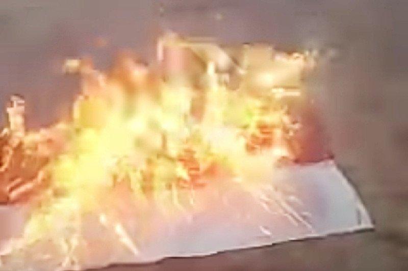 Polres Lampung Timur tangkap pelaku pembakaran bendera Merah Putih
