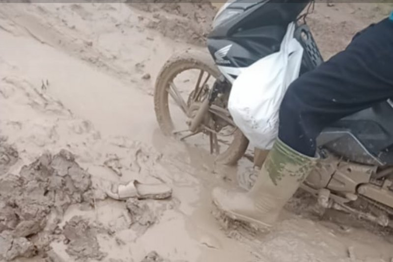Jalan Rusak berlumpur di Desa Sumber Makmur, penghubung ke Desa Mulya Sari, Kecamatan Mesuji, Kabupaten Mesuji, Lampung